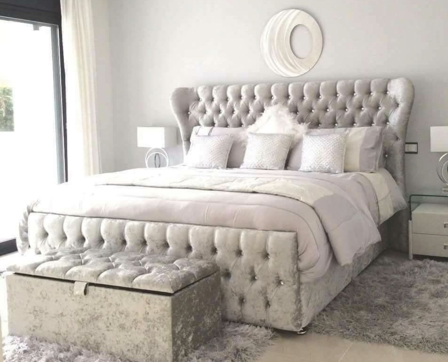 Oxford Wingback Bed Crushed Velvet Barclay Beds Oxford Wingback Bed Crushed Velvet